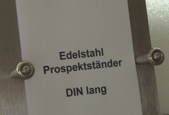 Edelstahl Tisch Prospektständer DIN lang ELEGANCE