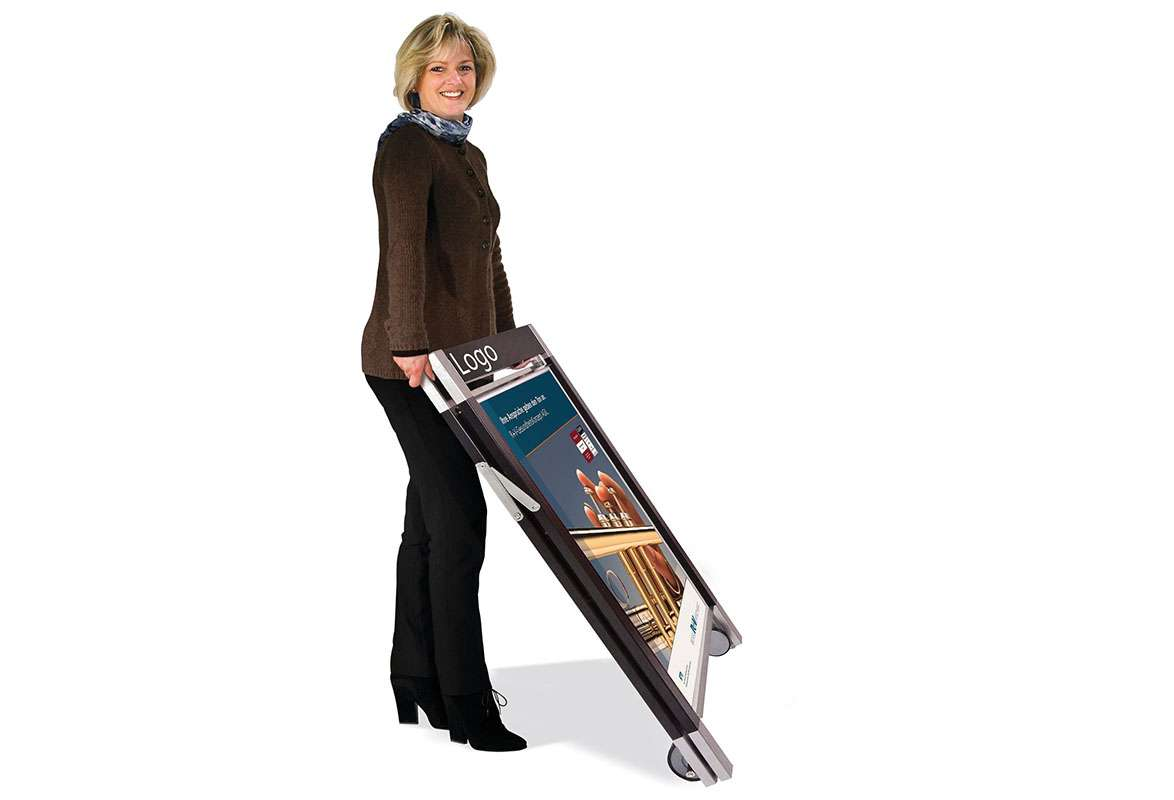 Gehwegaufsteller Prospektständer Roll Up Popup Display